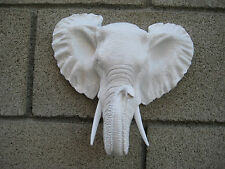 Safari Wild White Faux Elephant Head Statue Lodge Cabin Log Hanging Wall Mount
