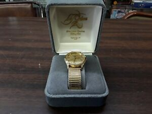 le mann mens quartz date black hills gold watch needs battery untested