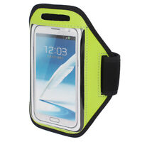 Sports Running Jogging Gym Armband Pouch Case Cover Yellow Green for Note 2 3