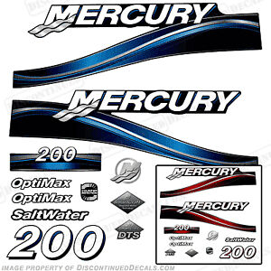Mercury 200hp Optimax 2005 Outboard Decal Kit, 225 250 Decals Blue or Red Engine