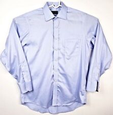 DONALD J. TRUMP SIGNATURE COLLECTION striped blue dress shirt no iron 16 34/35