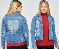 Womens Light Blue Denim Jeans Jacket Ladies Blazer Casual Waistcoat SIZES 6-16