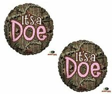 MOSSY OAK It's a Doe Pink Girl Baby Shower Camouflage Hunting (2) Mylar Balloons