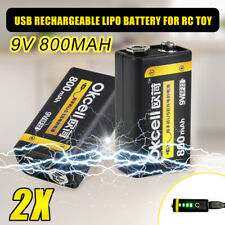 2Pcs USB Rechargeable 9V 800mAh Lipo Battery For RC Helicopter Microphone ❤ ❤