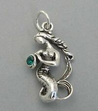 Sterling Silver MERMAID & Green Glass Stone 3D Charm Pendant Nautical Ocean 6585