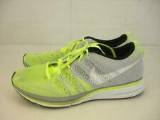 Nike Flyknit Trainer+ Running Shoes Mens 10 44 Gray Volt Green White 532984-714