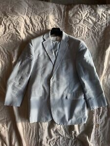brooks brothers seersucker suit. 42S, White And Sky Blue, White Buttons,