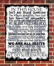Family Rules Supernatural Metal Sign Geek Gift Present