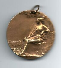 French Art Nouveau Seated Woman Bronze Medal, BAUDICHON. M26