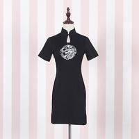Vintage Dragon Embroidery Black Cheongsam Chinese Qipao Dress Lolita Bodycon