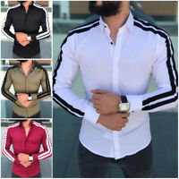 Men's Muscle Luxury Casual Stylish Slim Fit Long Sleeve Dress Shirts M-2XL