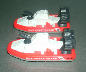 Two 1/275 Scale MBX Coast Guard Rescue Hovercraft Diecast Toy - Matchbox J4673