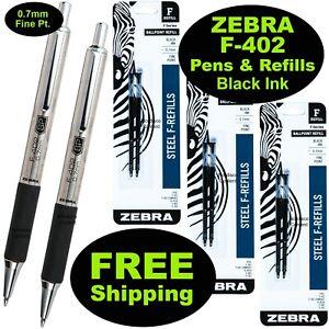 Zebra F-402 0.7mm Ball Point Pens & Refills, Black Ink, 2 Pens, 3 Pack of Refill