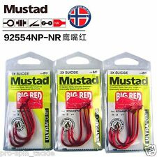 Bulk 3 Pack Mustad Big Red Hooks Size 8/0 - 92554NPNR - 2X Chemically Sharpened