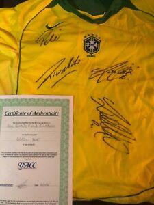 Brasil soccer jersey signed by Pele, Ronaldo, Ronaldinho, Rivaldo