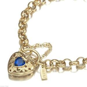 18K Yellow Gold GL Women's Solid Med Belcher Bracelet & Sapphire Heart 18cm