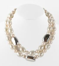 Simon Sebbag 3 String Pearl Multi Sterling Silver Beads Necklace