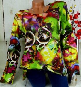 LEINS Designer Shirt Tunika Bluse Lagenlook Schlitze Top T-Shirt Bunt M 36 38