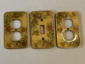 Victorian Ornate Enamel Floral Flower Brass Light Switch, 2 Outlet Covers