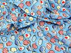 Oven Gloves Print Polycotton Dress Fabric (OvenGloves-Blue-M)