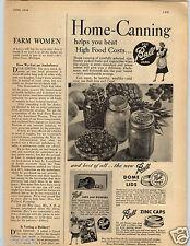 1948 PAPER AD Canning Mason Ball Jars Lids Caps Zinc Dome Vacu-Seal Rubber Ring