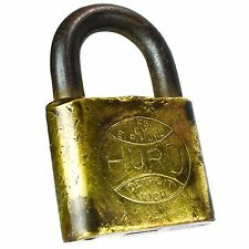 HURD DETROIT MICHIGAN Padlock Brass Old Vintage Embossed Lock (no key)