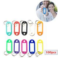 100pz colori Fob anelli chiave ID tag auto identificatori portachiavi nome carte