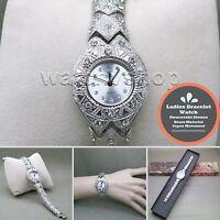 SILVER Women Quartz Analog Wrist Watch Fashion Crystals Bracelet Steel Back WL09