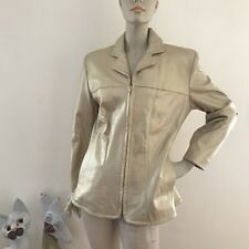 Vintage Dero Rocco D'Amelio Champagne Gold Metallic Leather Jacket M Zip Up Glam
