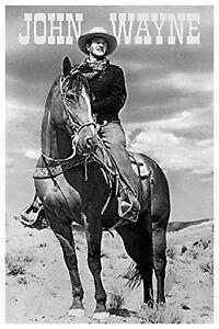 JOHN WAYNE - ON HORSE POSTER - 24x36 COWBOY MOVIE DUKE 1512