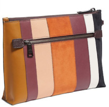New Coach Patchwork Stripes Charlie Pouch Beechwood Multi-Color NWT #76179