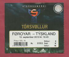Orig.Ticket  WM Qualifikation  10.09.2013   FÄRÖER - DEUTSCHLAND  !!  SELTEN