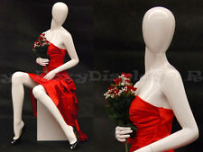 Female Fiberglass Glossy White Mannequin Egg Head Display Dress form #Md-C9