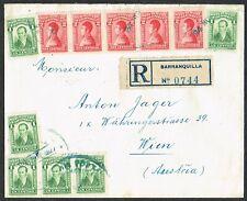 1927 Colombia Registered 5x2c 6x1c Barranquilla to Austria via New York