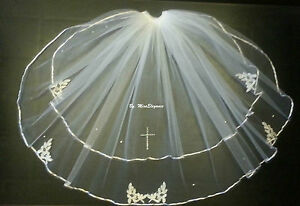Communion Veil White Ivory 2Tier First communion Girls veil with Diamonte CROSS