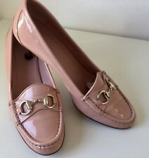 Gucci Dusty Pink Patent Kitten Heel Loafer With Gold Horsebit Buckle Size 36.5C