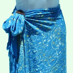 Blue Hand Batik Sarong Pareo Wrap Full Size Rayon Beach Cover up FREE CLIP