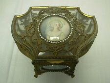 ANTIQUE GILT BRASS GLASS JEWELRY CASKET BOX SIGNED H/PAINTED PORTRAIT &LADY GENT