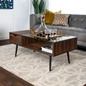 Mid Century Modern Wood and Glass Coffee Table Dark Walnut Living Room Furniture