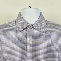 David Donahue Trim Mens Blue Orange Check Dress Button Shirt Size 15.5 32/33