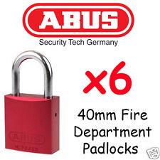 Red Fire Brigade Padlocks - Fire Department Abus 40mm  x6 Locks Keyed Alike !!!!