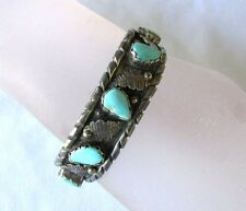 VTG NATIVE AMERICAN STERLING SILVER TURQUOISE CUFF BRACELET