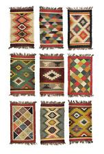 Kelim Teppich Läufer Wolle & Jute Indisch 60x100cm Handgewebt Orient Teppich AO