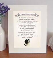 Border Collie Thank You FROM THE DOG Poem 8 x 10 Picture/10x8 Print Novelty Gift