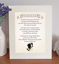 """Border Collie 10""""x8"""" Free Standing Thank You Poem Fun Novelty Gift FROM THE DOG"""