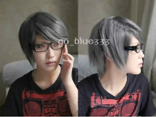 Persona 4 Narukami Yu short dark grey cosplay wig  &573