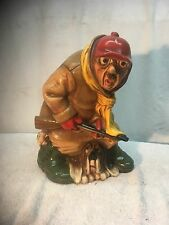 Vintage Ceramic Hunter old man bloodhound dog Rabbit Universal statute #720 1980