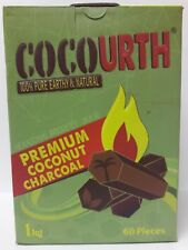 CocoUrth 60 Pcs Natural Coconut Hookah Charcoal Shisha Coal (HEXAGONS) 1kg