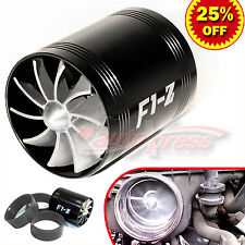 For HONDA Supercharger COLD AIR INTAKE TURBO DUAL Gas Fuel Saver Fan BK 2.5-3.0""
