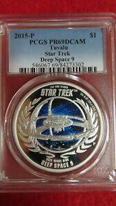 2015 Tuvalu Large 1 OZ .999 Silver Proof $1 Star Trek Deep Space 9 PCGS PR69 HOT